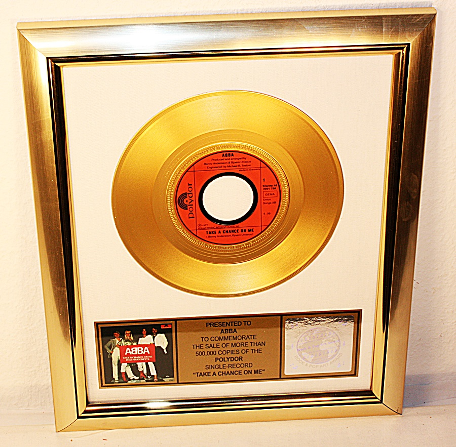 abba take a chance on me single gold record gold record. Black Bedroom Furniture Sets. Home Design Ideas