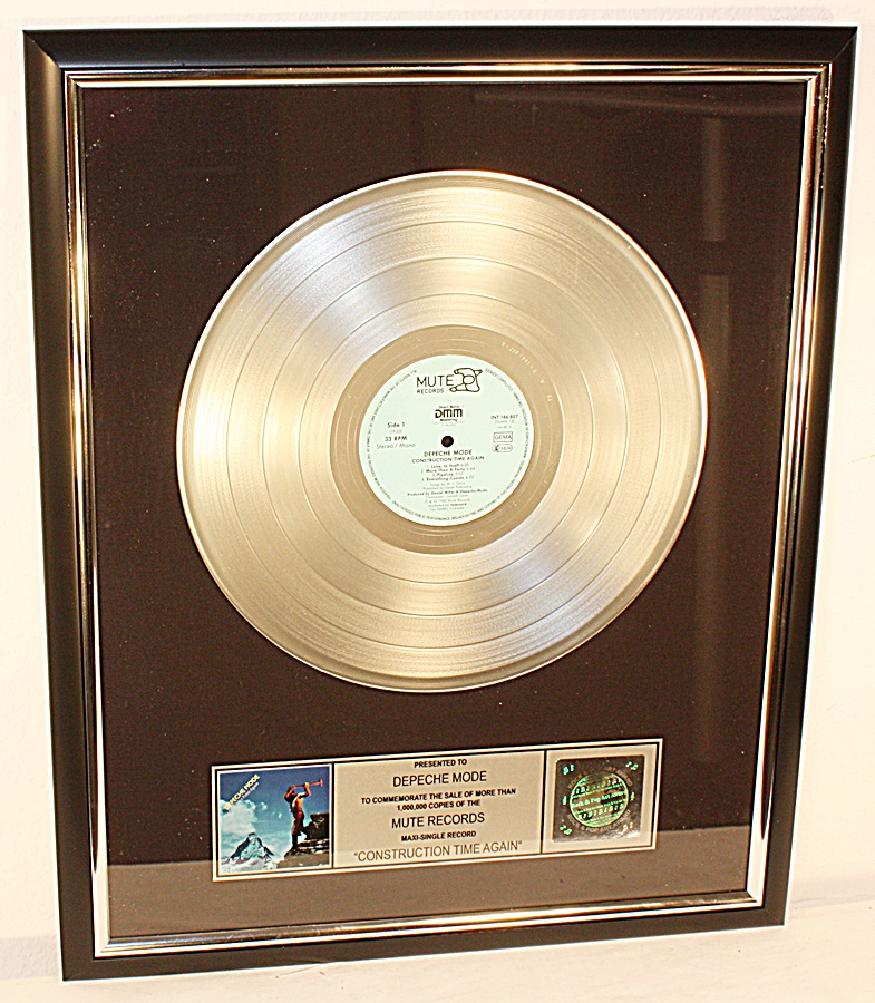 depeche mode construction time again platin record schallplatte award goldene ebay. Black Bedroom Furniture Sets. Home Design Ideas