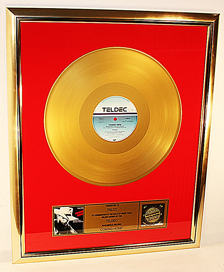 Falco-Coming-Home-MAXI-Gold-Record-goldene-Schallplatte-Award-platin
