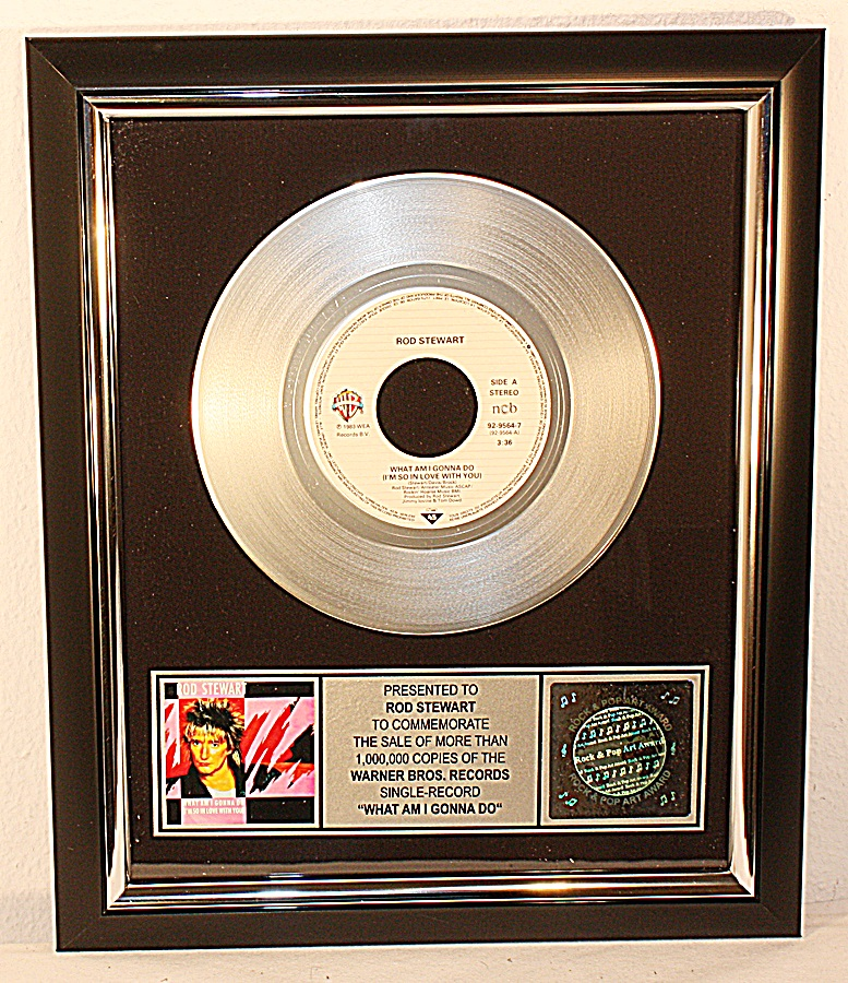 Rod-Stewart-What-Am-I-Gonna-Do-Platin-Record-platin-Schallplatte-Award-gold