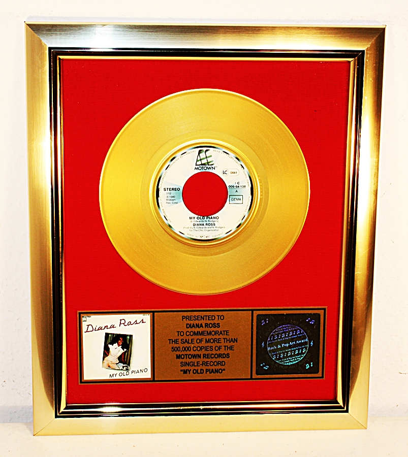 diana ross my old piano gold record award goldene schallplatte platin ebay. Black Bedroom Furniture Sets. Home Design Ideas
